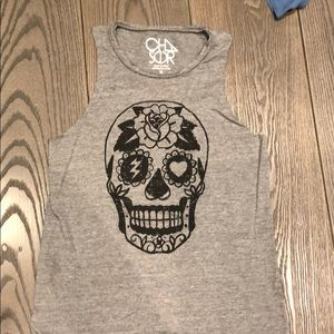 Gray Chaser Tank with Skull, Small